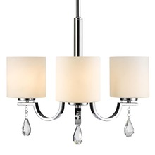 Golden Canada 8037-M3 CH-OP - Evette 3 Light Chandelier in Chrome with Opal Glass