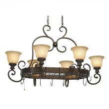 Golden Canada 8063-PR62 BUS - Heartwood 8 Light Pot Rack in Burnt Sienna with Tea Stone Glass