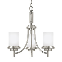 Sea Gull 31660BLE-962 - Fluorescent Winnetka Three Light Chandelier in Brushed Nickel with Satin Etched Glass