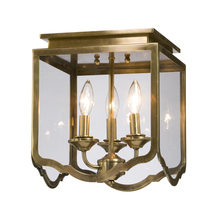 Artcraft AC947AB - Three Light Antique Brass Bevelled Clear Glass Cage Flush Mount