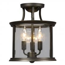 Galaxy Lighting 612308ORB - Semi-Flush Mount - Oil Rubbed Bronze with Clear Glass