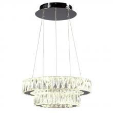 Galaxy Lighting L919602CH - Led 2-Tier Crystal Ring Pendant - In Polished Chrome Finish With Clear K9 Crystals (Dimmable, 4000K)
