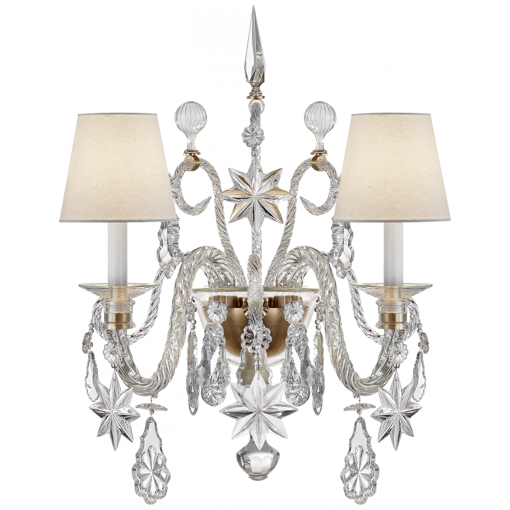 Robinson Lighting in Winnipeg , Manitoba, Canada,  2UZWG, Alexandra Large Sconce in Crystal Glass and Natu, Alexandra