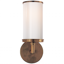 Visual Comfort S 2006HAB-WG - Cylinder Sconce in Hand-Rubbed Antique Brass wit