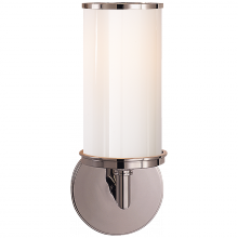 Visual Comfort S 2006PN-WG - Cylinder Sconce in Polished Nickel with White Gl
