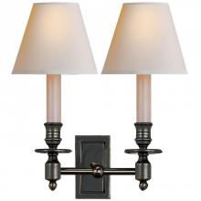 Visual Comfort S 2212BZ-NP - French Double Library Sconce in Bronze with Natu