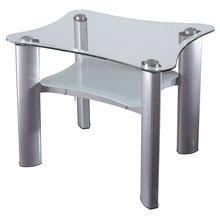 Dainolite GCT-520-CGL-SV - Silver End Table with Frosted Glass