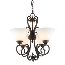 Golden Canada 8606-GM4 RBZ-OP - Homestead 4 Light Mini Chandelier in Rubbed Bronze with Opal Glass