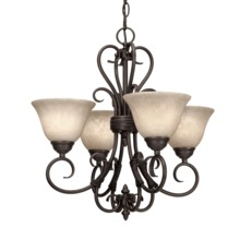 Golden Canada 8606-GM4 RBZ-TEA - Homestead 4 Light Mini Chandelier in Rubbed Bronze with Tea Stone Glass