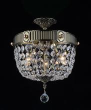 Crystal World 2048C13AB - 3 Light Bowl Flush Mount with Antique Brass finish