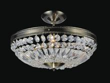 Crystal World 5049C14AB - 3 Light Bowl Flush Mount with Antique Brass finish