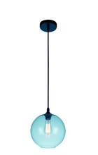Crystal World 5553P10-Blue - 1 Light Black Down Mini Pendant from our Glass collection
