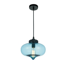 Crystal World 5570P11 - Blue - 1 Light Black Down Mini Pendant from our Glass collection