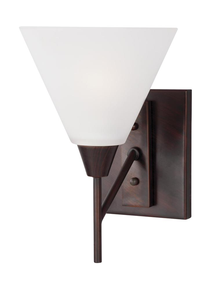 Robinson Lighting in Winnipeg , Manitoba, Canada,  9KH9N, Fluorescent Ashburne One Light Wall / Bath Sconce in Burnt Sienna with Satin Etched Glass, Ashburne