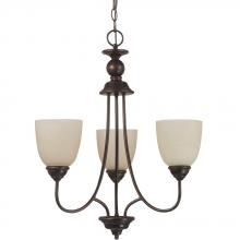 Sea Gull 31316BLE-710 - Fluorescent Lemont Three Light Chandelier in Burnt Sienna with Cafe Tint Glass
