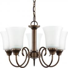 Sea Gull 39808BLE-827 - Fluorescent Holman Five Light Chandelier in Bell Metal Bronze with Satin Etched Glass