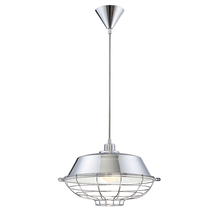 Eurofase Online 30012-011 - London Metal Cage Diffuser Light Pendant, Chrome Finish, Fabric Power Cord, 1 A19 Light Bulb, 14 Inc