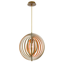 Eurofase Online 31874-014 - Abruzzo Sleek Retractable Wood Light Pendant, 1 A19 Light Bulb, 18 Inches High - Model 31874-014