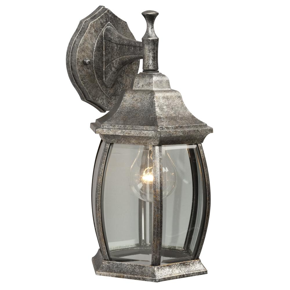 Robinson Lighting in Winnipeg , Manitoba, Canada,  6UH8G, Outdoor Cast Aluminum Lantern - Antique Silver W/ Clear Beveled Glass,