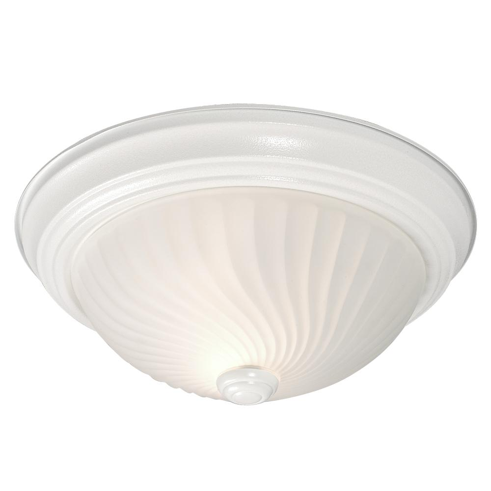 Robinson Lighting in Winnipeg , Manitoba, Canada,  6UECJ, Flush Mount - White w/ Frosted Swirl Glass,