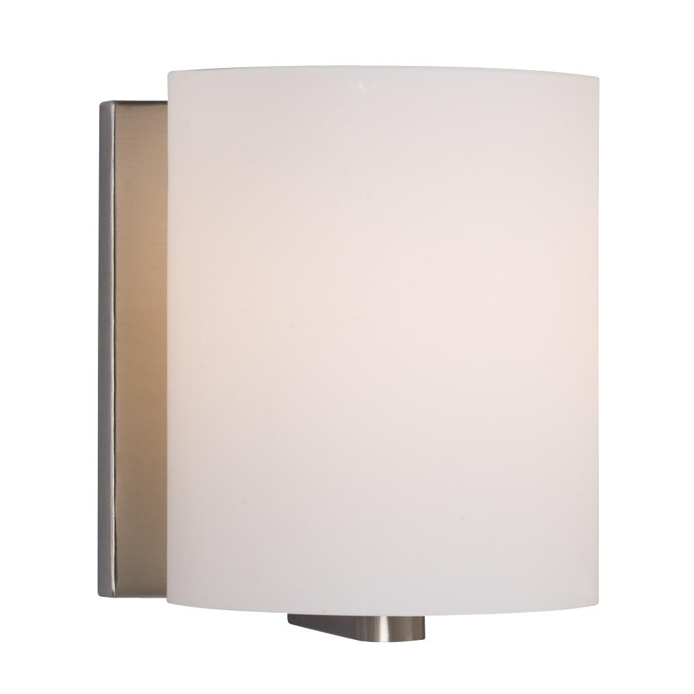 Robinson Lighting in Winnipeg , Manitoba, Canada,  70JKM, 1-Light Vanity Light - Brushed Nickel With Satin White Cylinder Glass, Cyl