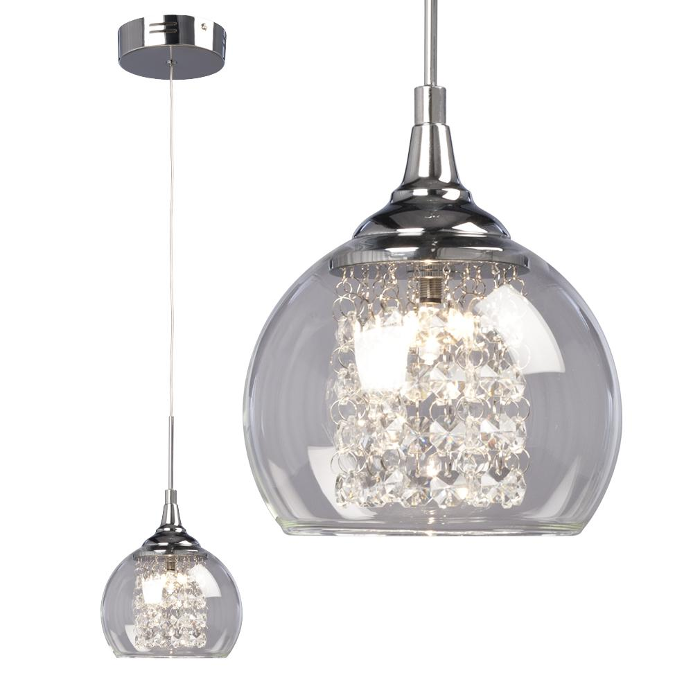 Robinson lighting centre 70jmr 1 light mini pendant polished chrome with clear crystal beads clear glass shade aloadofball Image collections