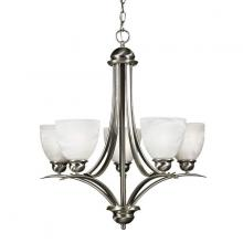 Russell Lighting 102-715/BCH - Brushed Chrome Chandelier with faux alabaster glass. 5 x 100w M