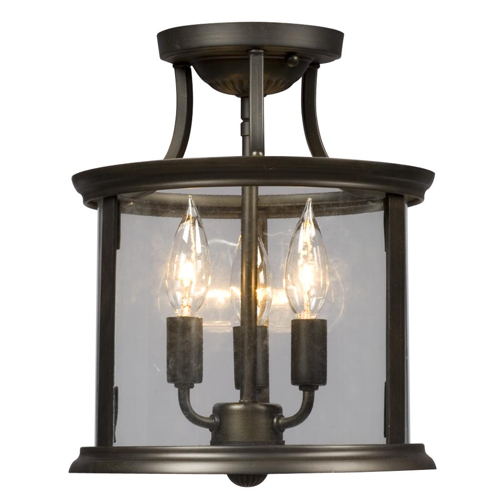 Semi Flush Mount Oil Rubbed Bronze With Clear Glass